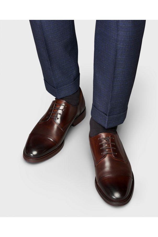 Туфли мужские дерби коричневые с отрезным мысом из гладкой кожи
