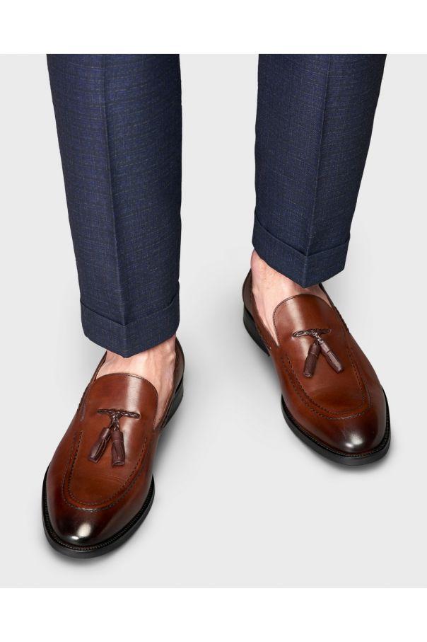 Туфли мужские лоферы с кисточками коричневые (tassel loafers)