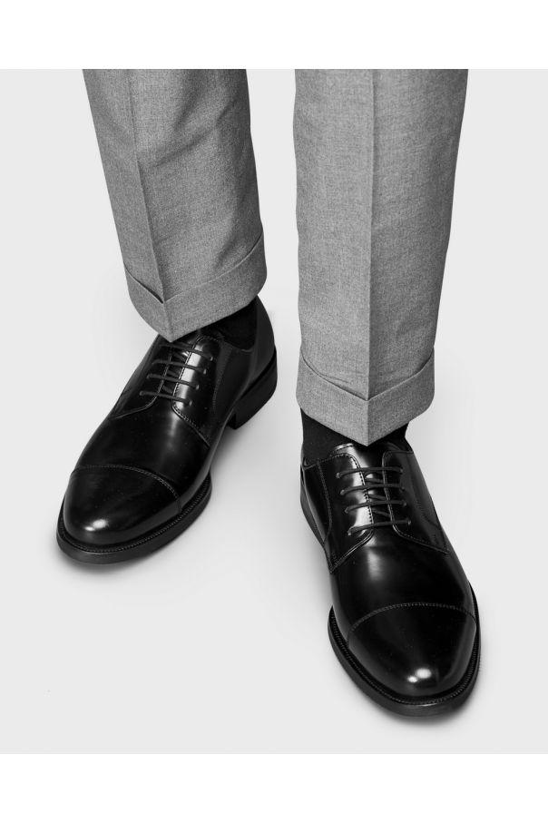 Туфли мужские дерби черные глянцевые, с отрезным мысом, на каучуковой подошве