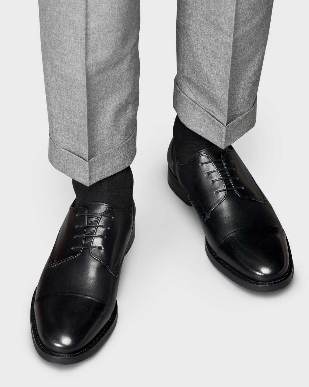 Туфли мужские дерби черные с отрезным мысом из гладкой кожи