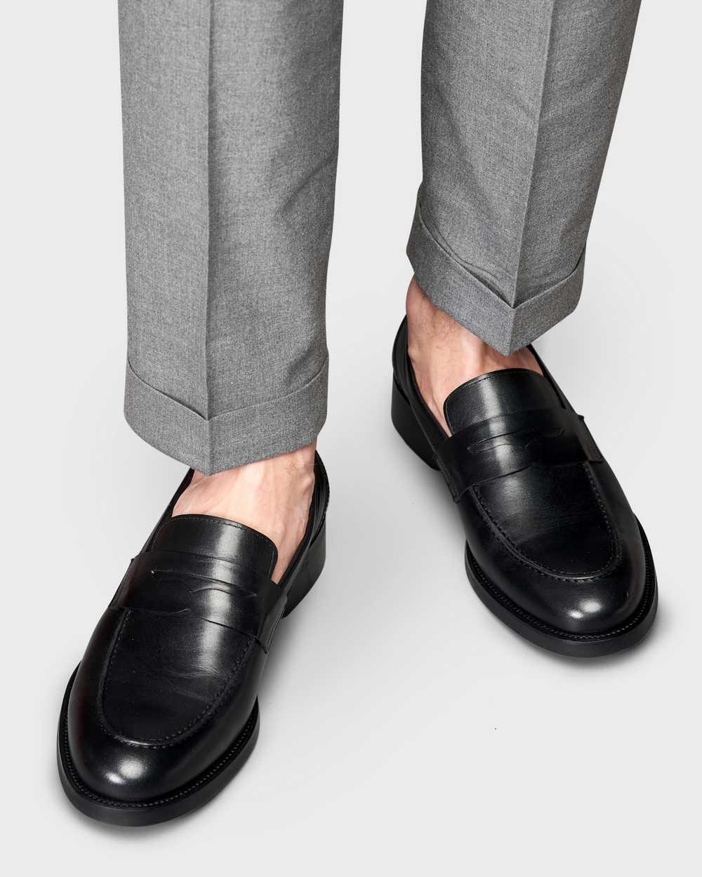 Туфли мужские пенни-лоферы черные из гладкой кожи