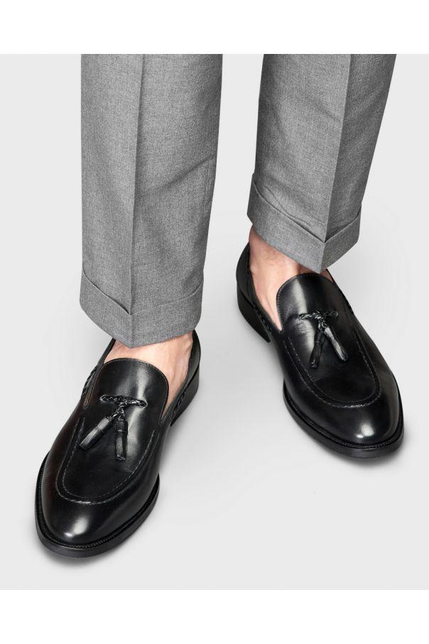 Туфли мужские лоферы с кисточками черные (tassel loafers)