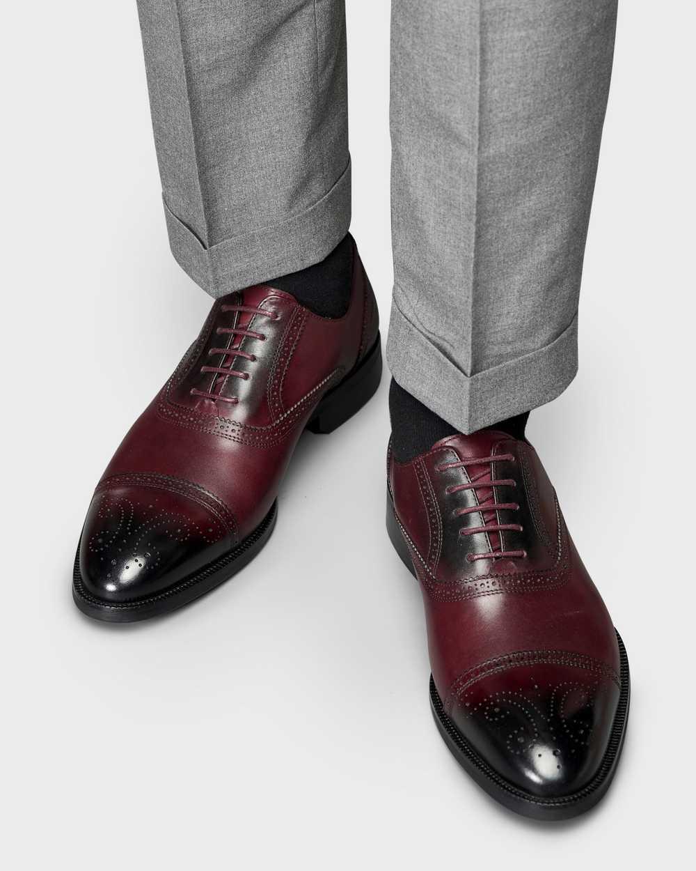 Туфли мужские оксфорды броги бордовые