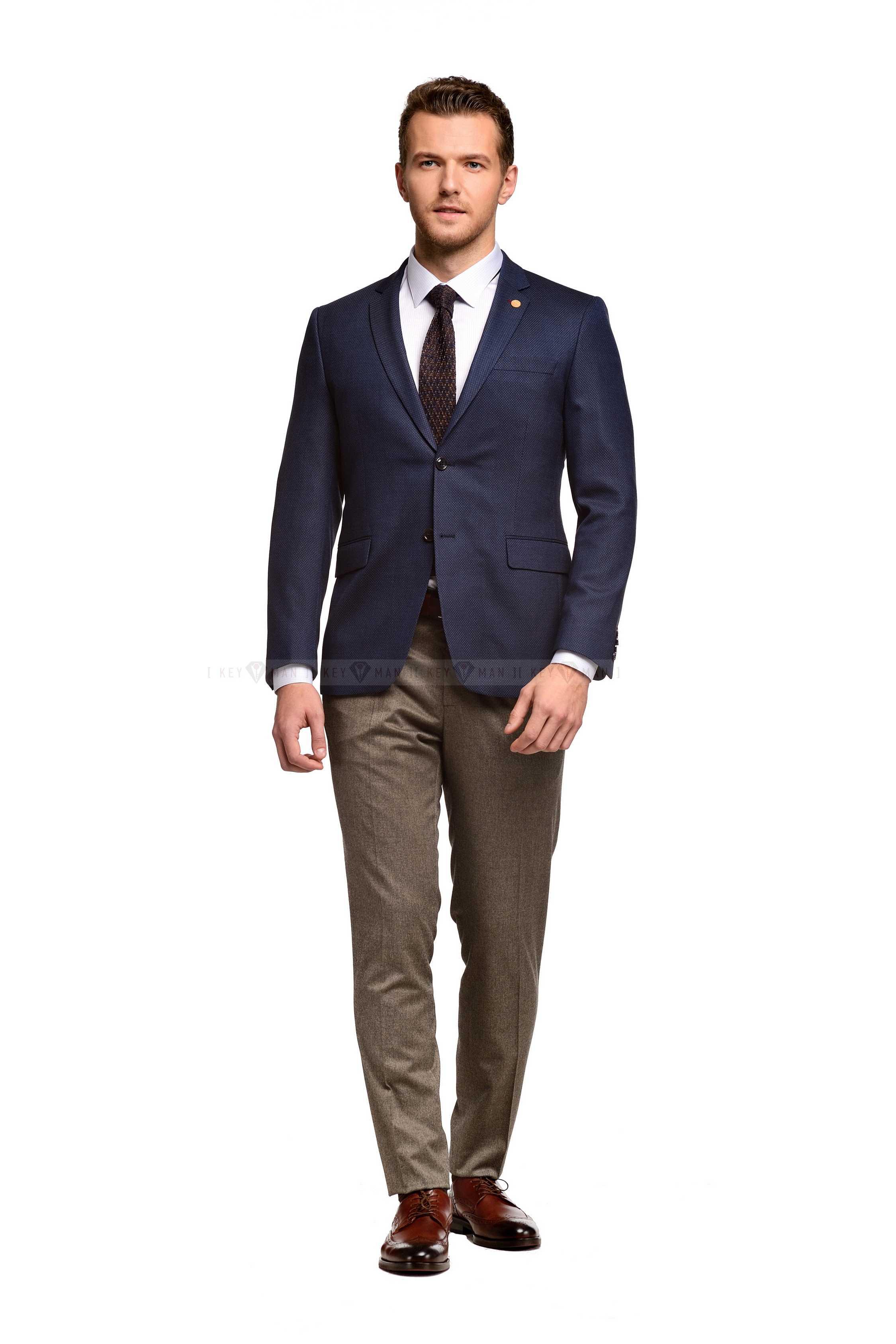 Пиджак мужской темно-синий в серую точку