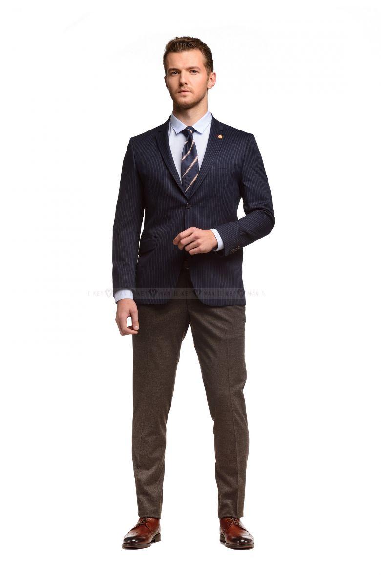 Пиджак мужской чернильный в полоску