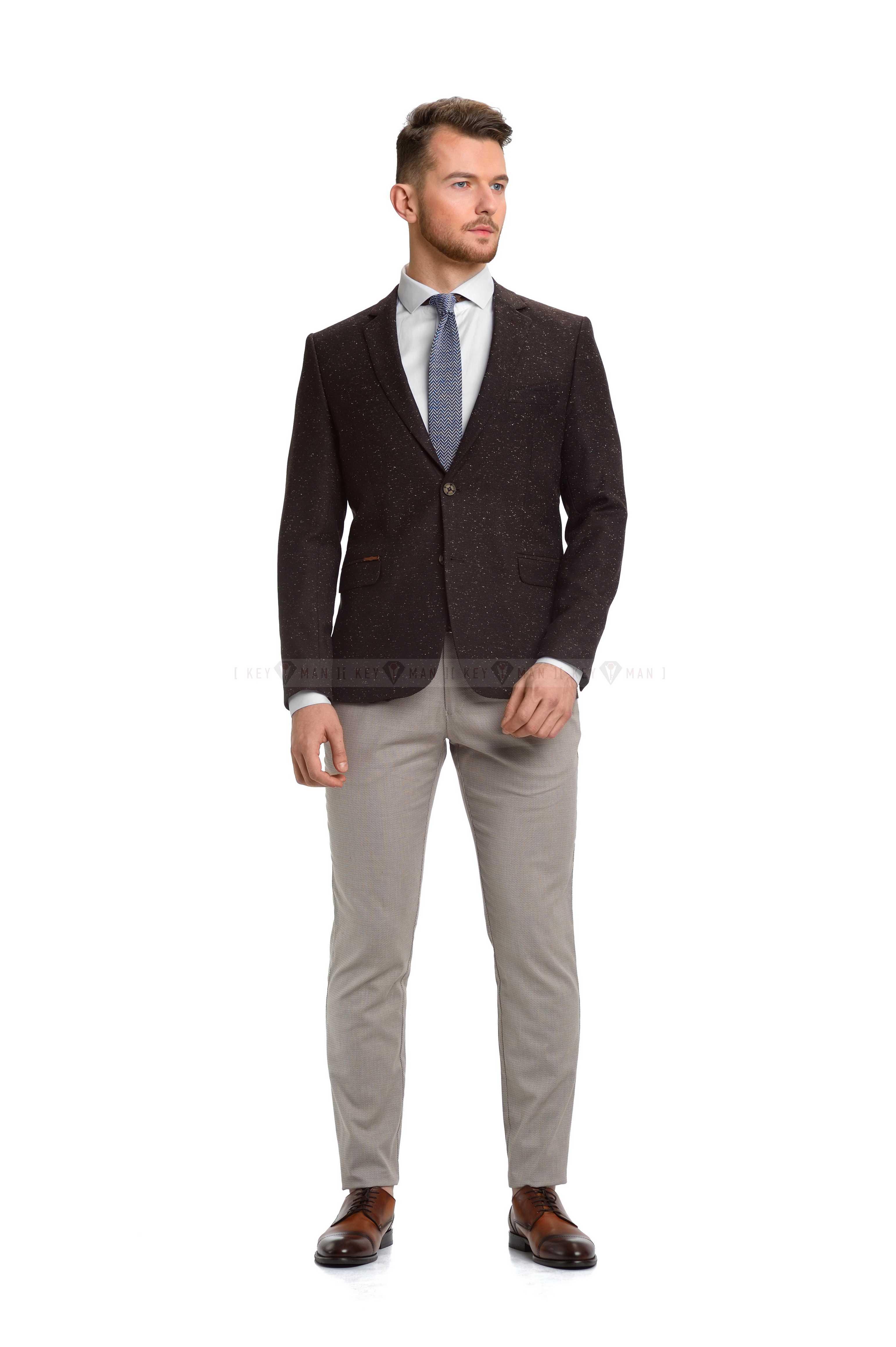 Пиджак мужской коричневый меланж