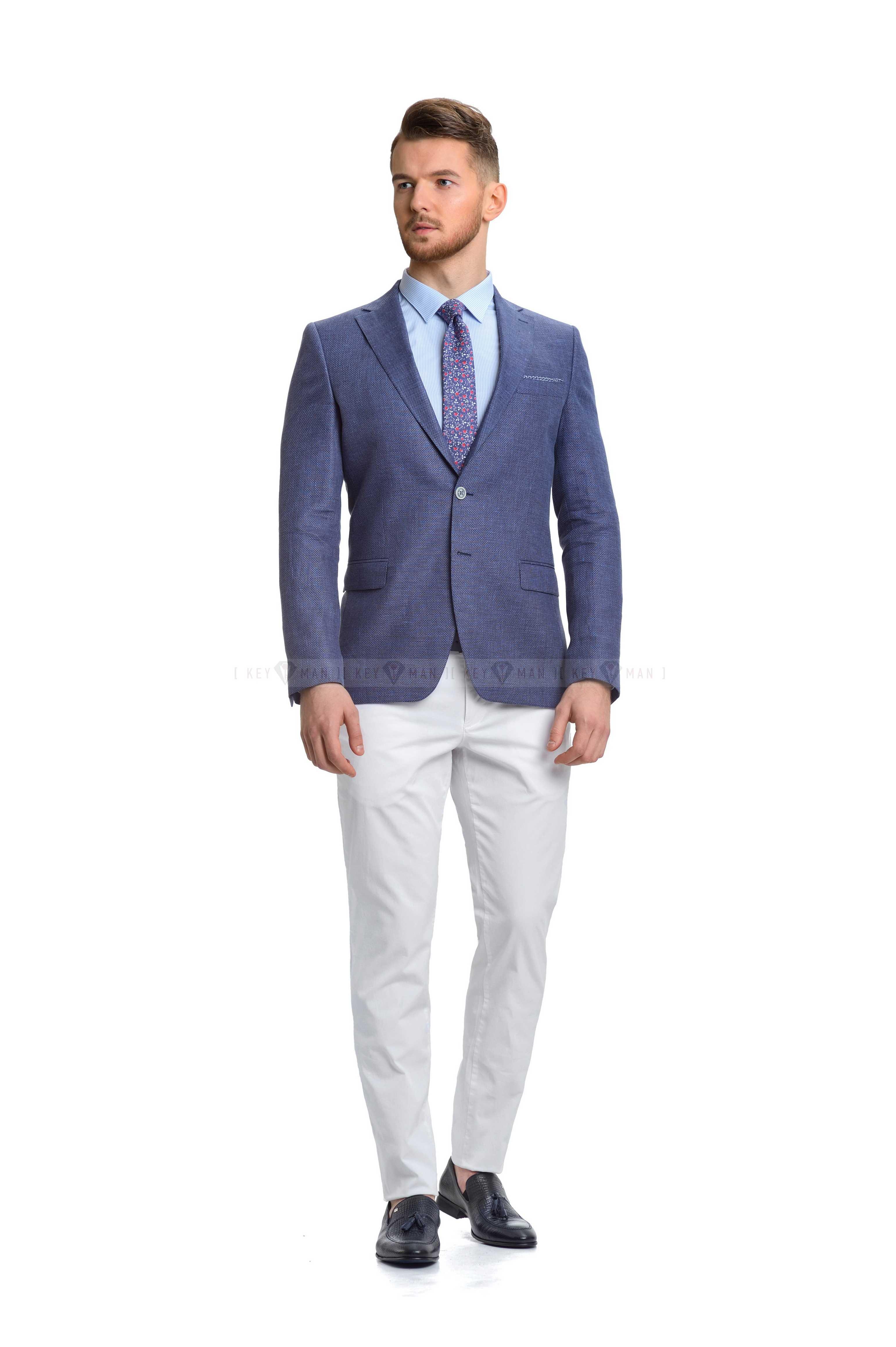 Пиджак мужской синий льняной