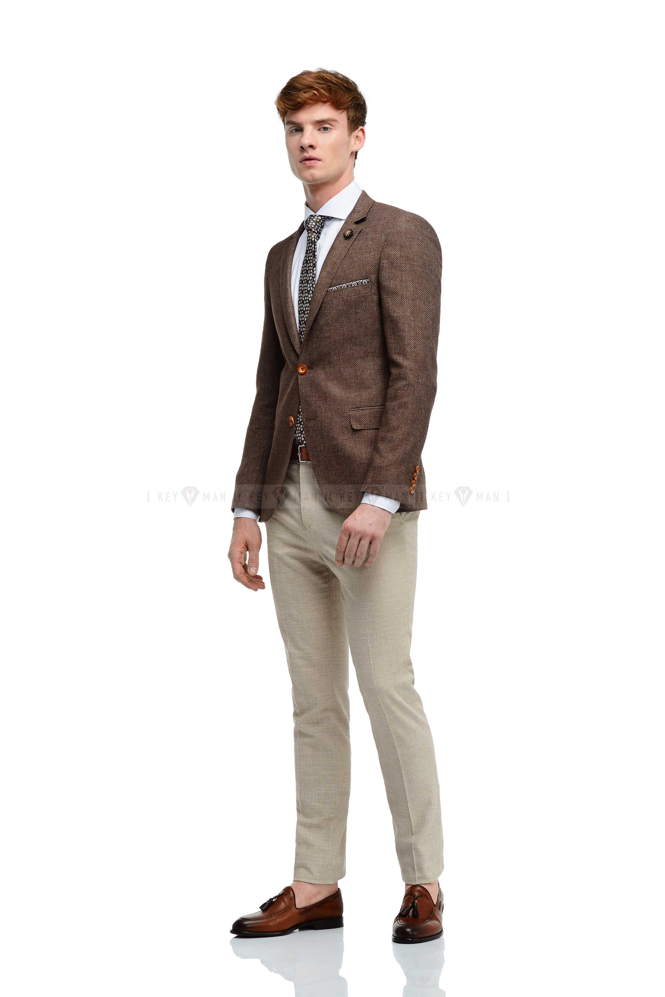 Пиджак мужской коричневый, фактурный материал из льна и хлопка