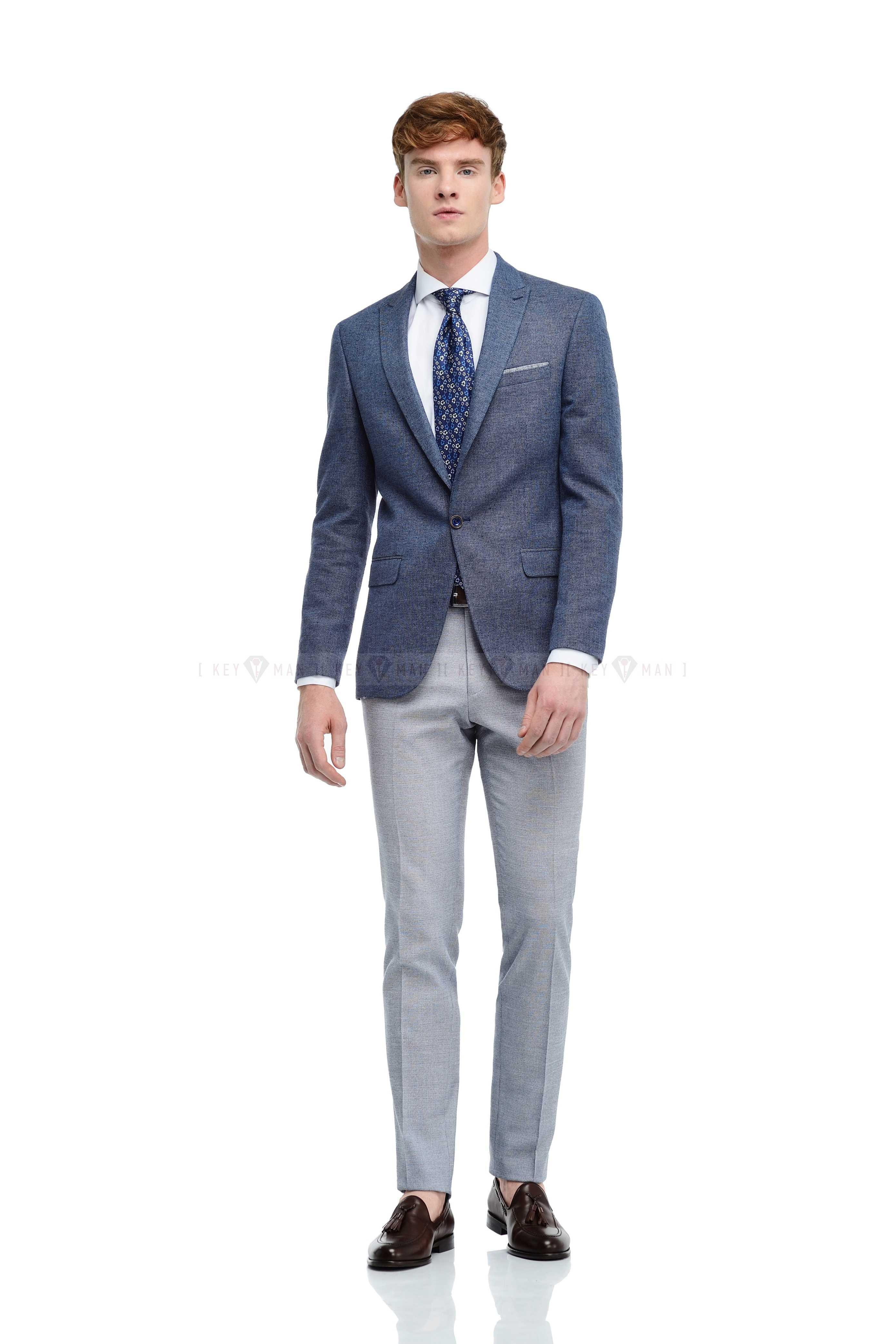 Пиджак мужской сине-серый льняной, итальянский лацкан