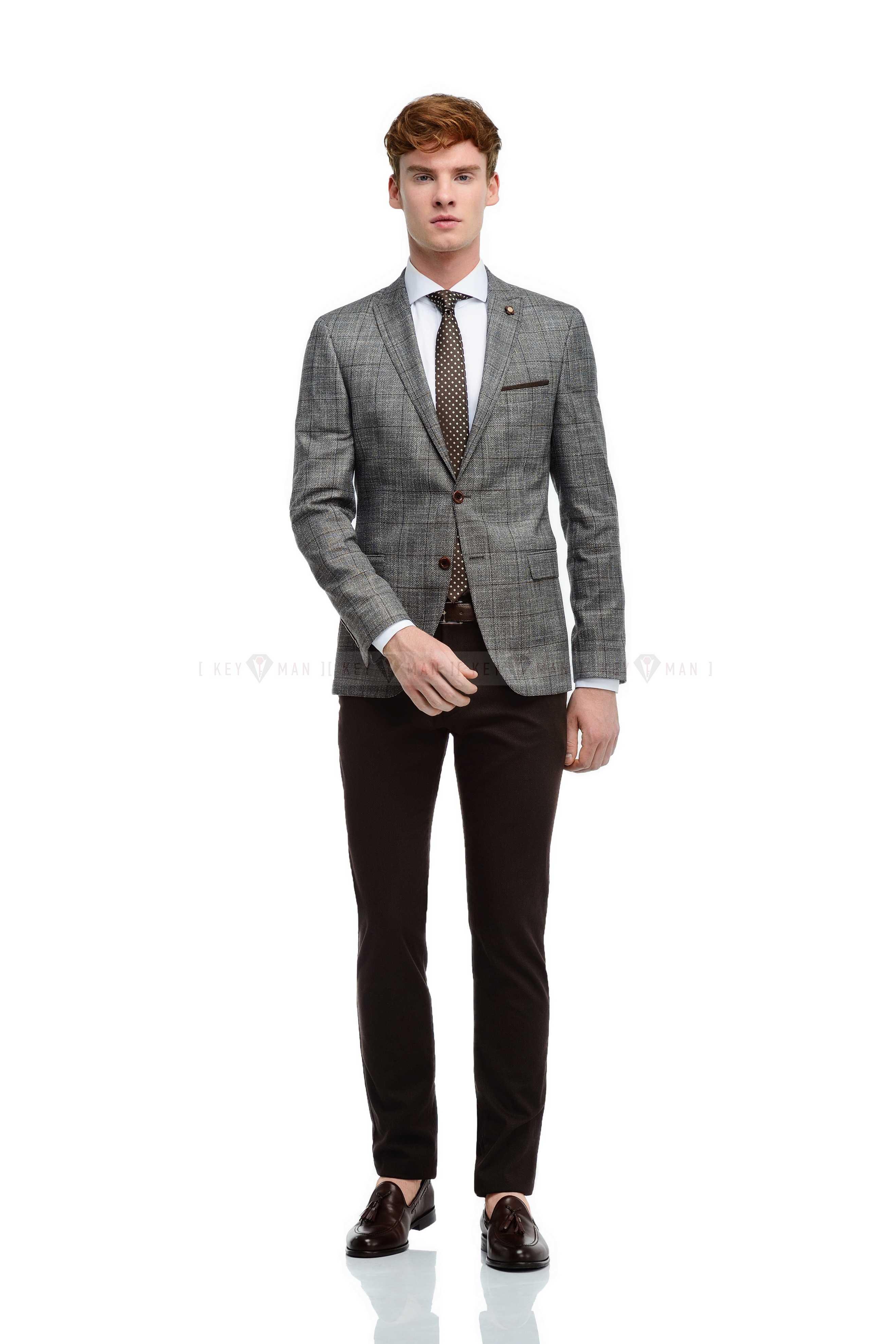 Пиджак мужской коричневый с вплетенной белой нитью в крупную клетку