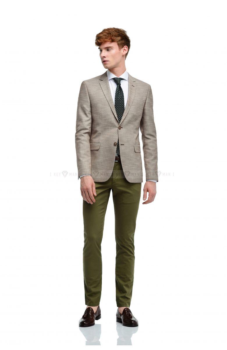 Пиджак мужской бежево-коричневый крупная фактура New