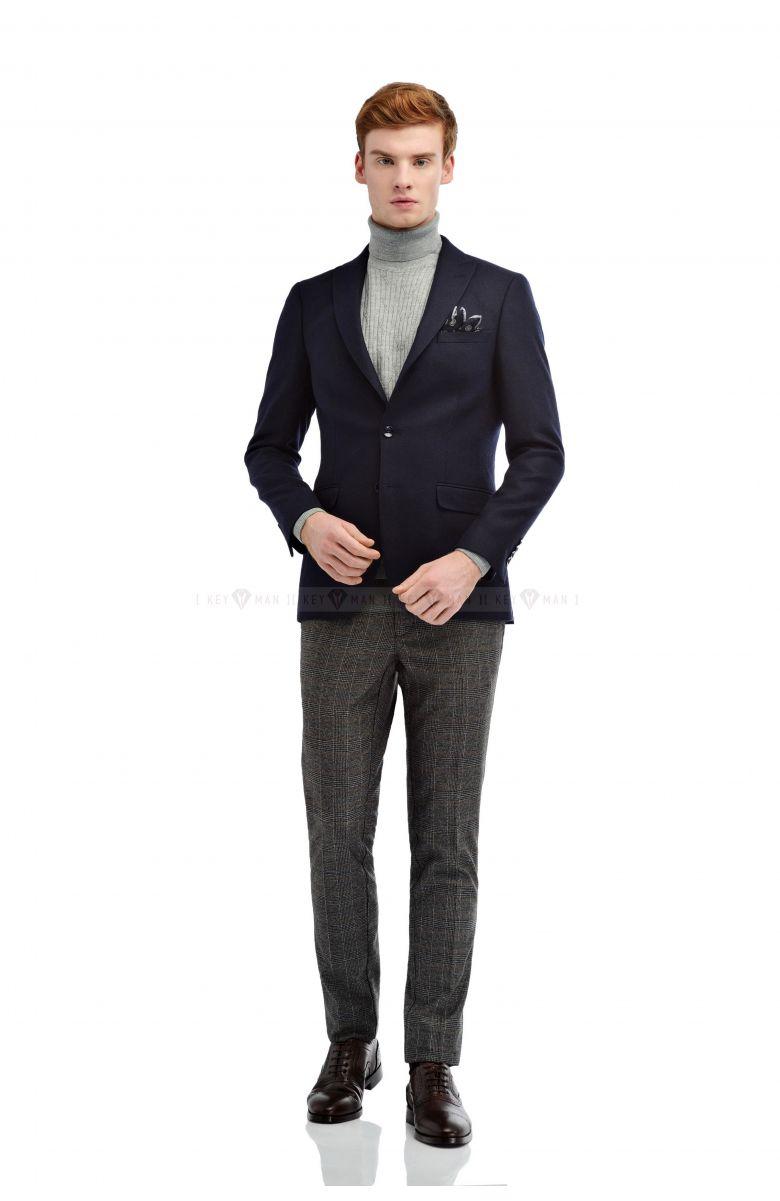Пиджак мужской темно-синий, итальянская шерсть