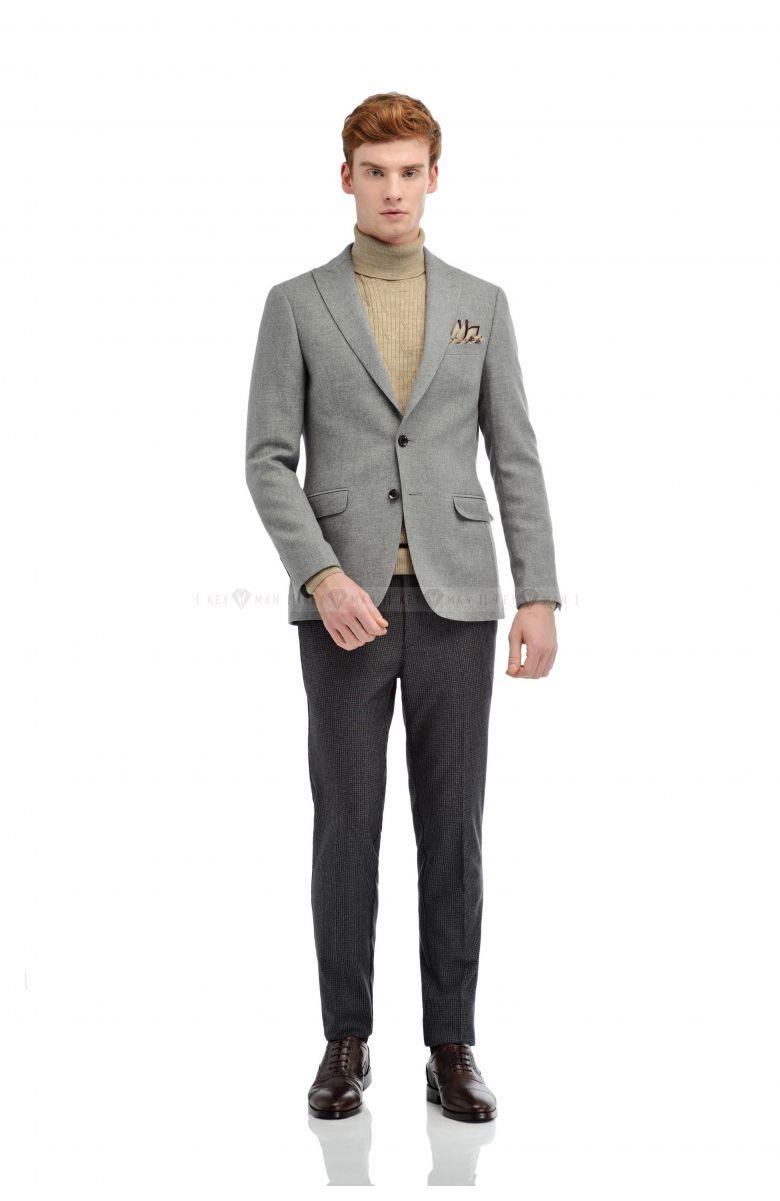 Пиджак мужской светло-серый меланж, итальянская шерсть