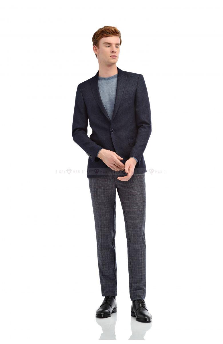 Пиджак мужской синий фактурный в узор (ромбы)