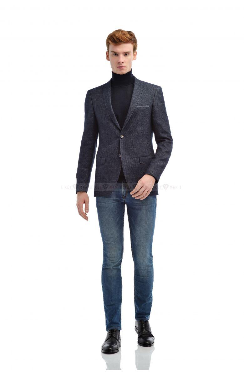 Пиджак мужской синий с вплетенной белой нитью (мелкая фактура)