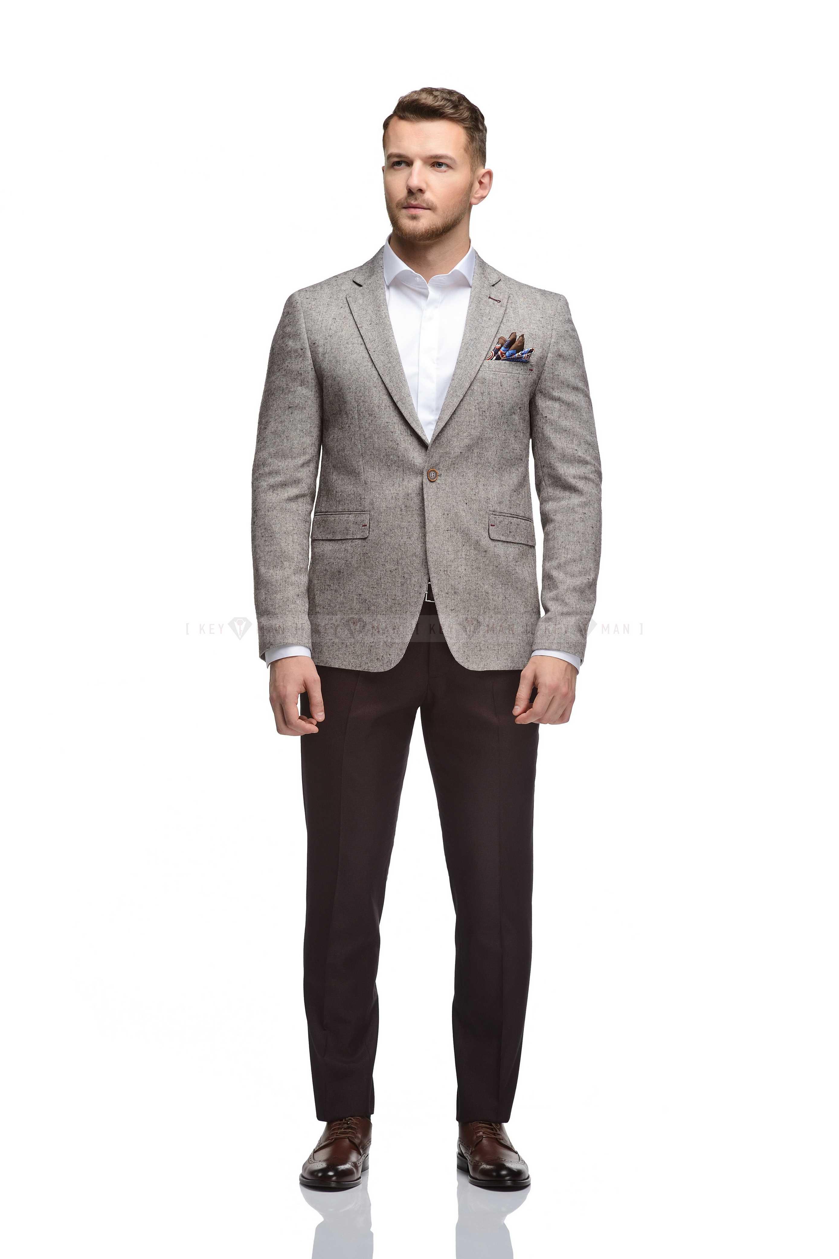 Пиджак мужской бежево-бордовый меланж