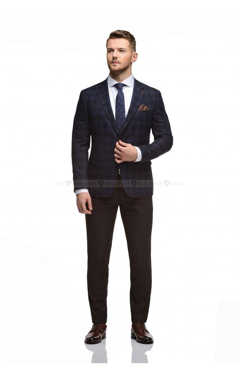 Пиджак мужской синий в тонкую коричневую клетку из плотной шерсти