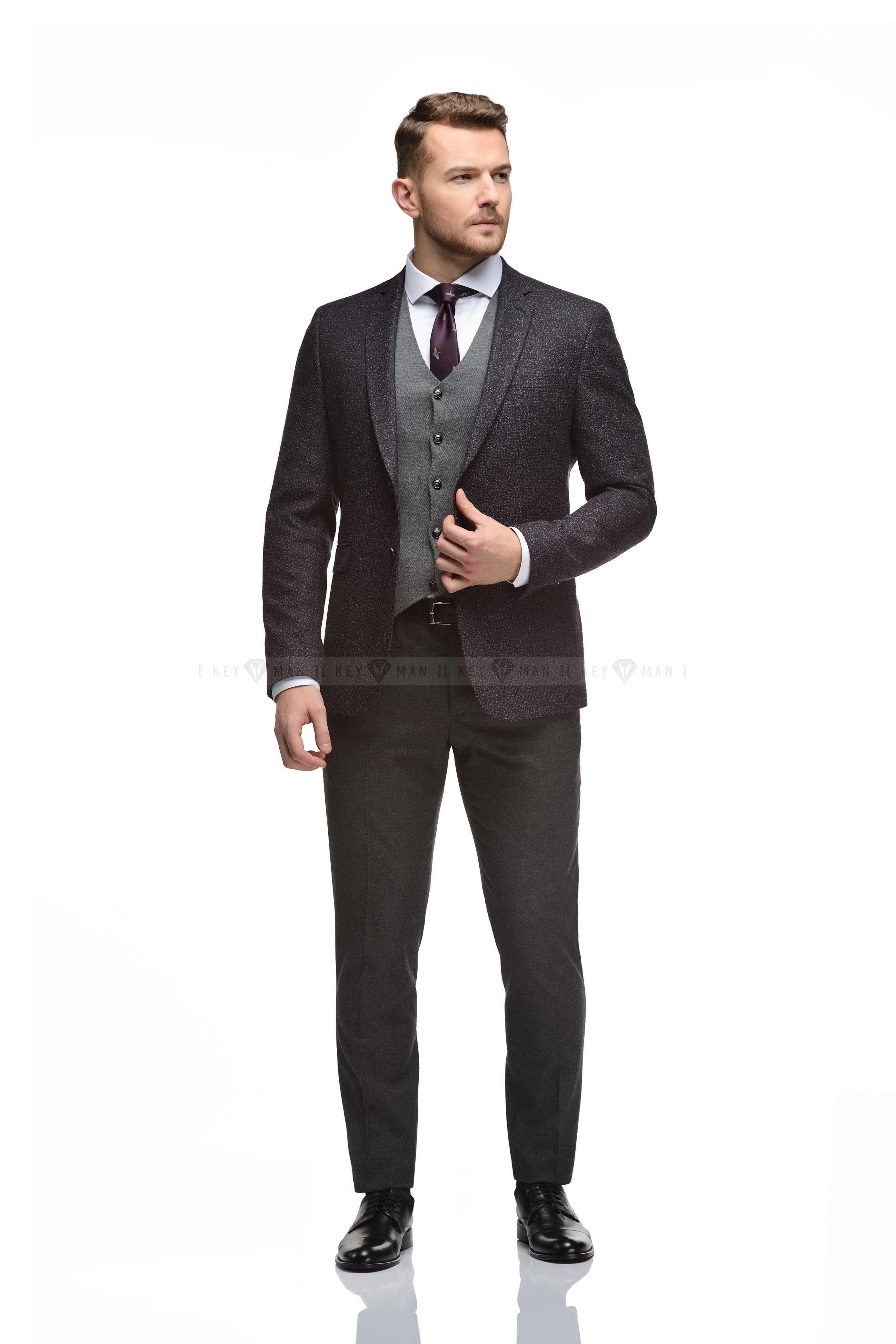 Пиджак мужской фиолетовый, ткань букле