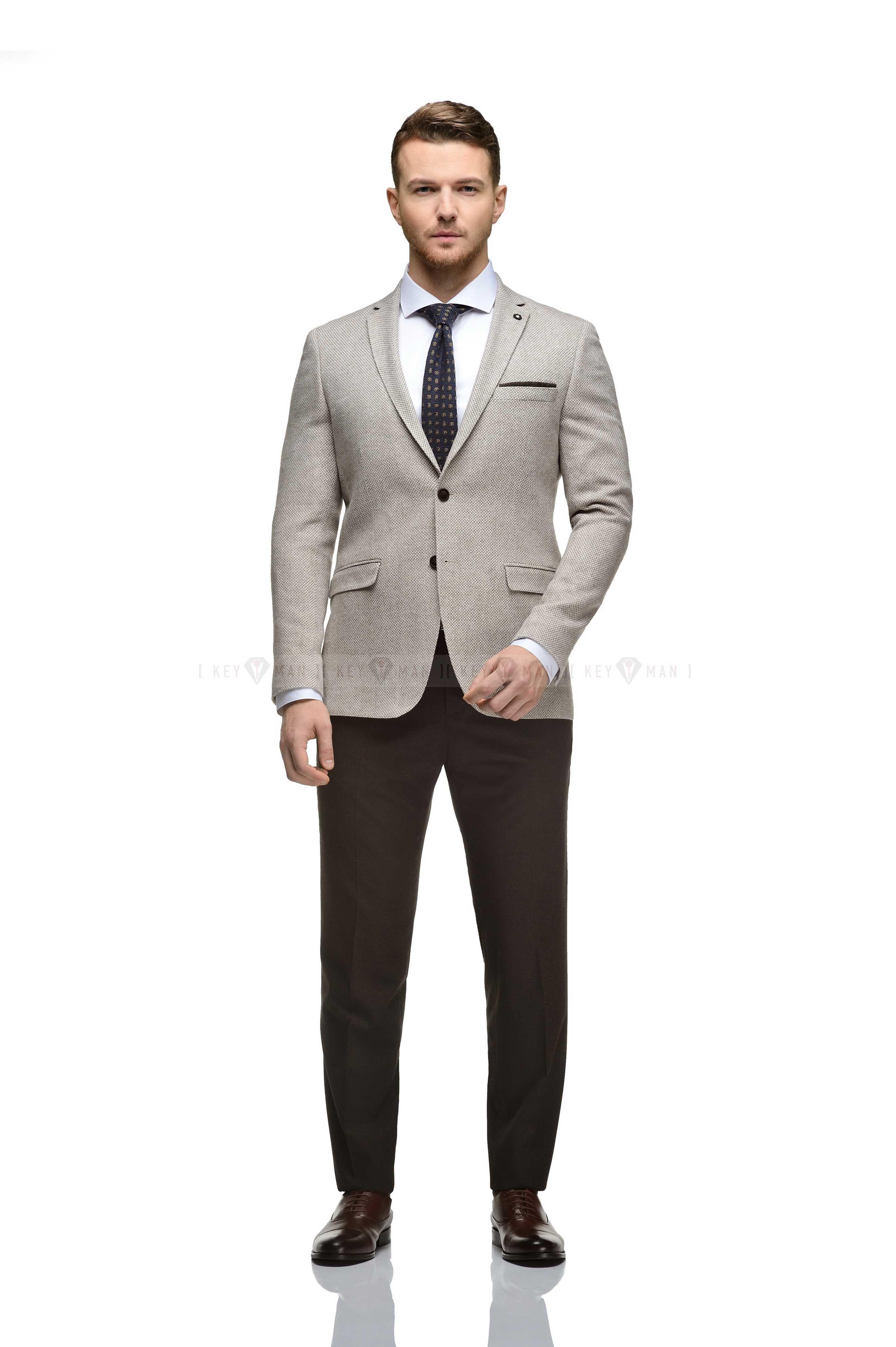 Пиджак мужской бежево-коричневый фактурный, плотная шерсть