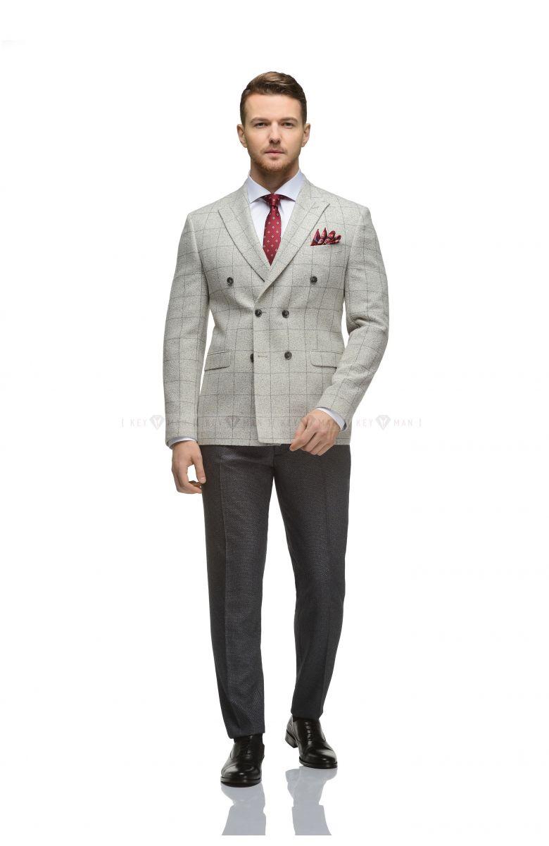 Пиджак мужской светло-серый в крупную клетку, двубортный
