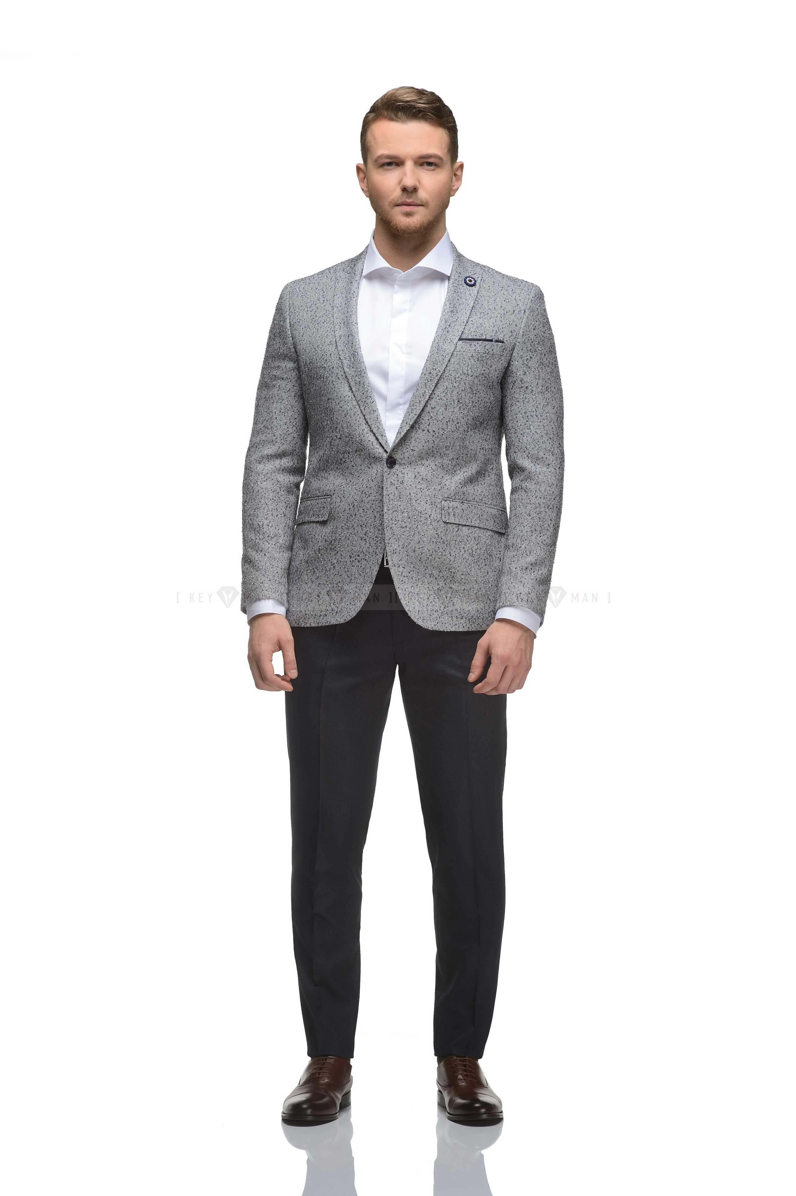 Пиджак мужской светло-серый (синее букле)