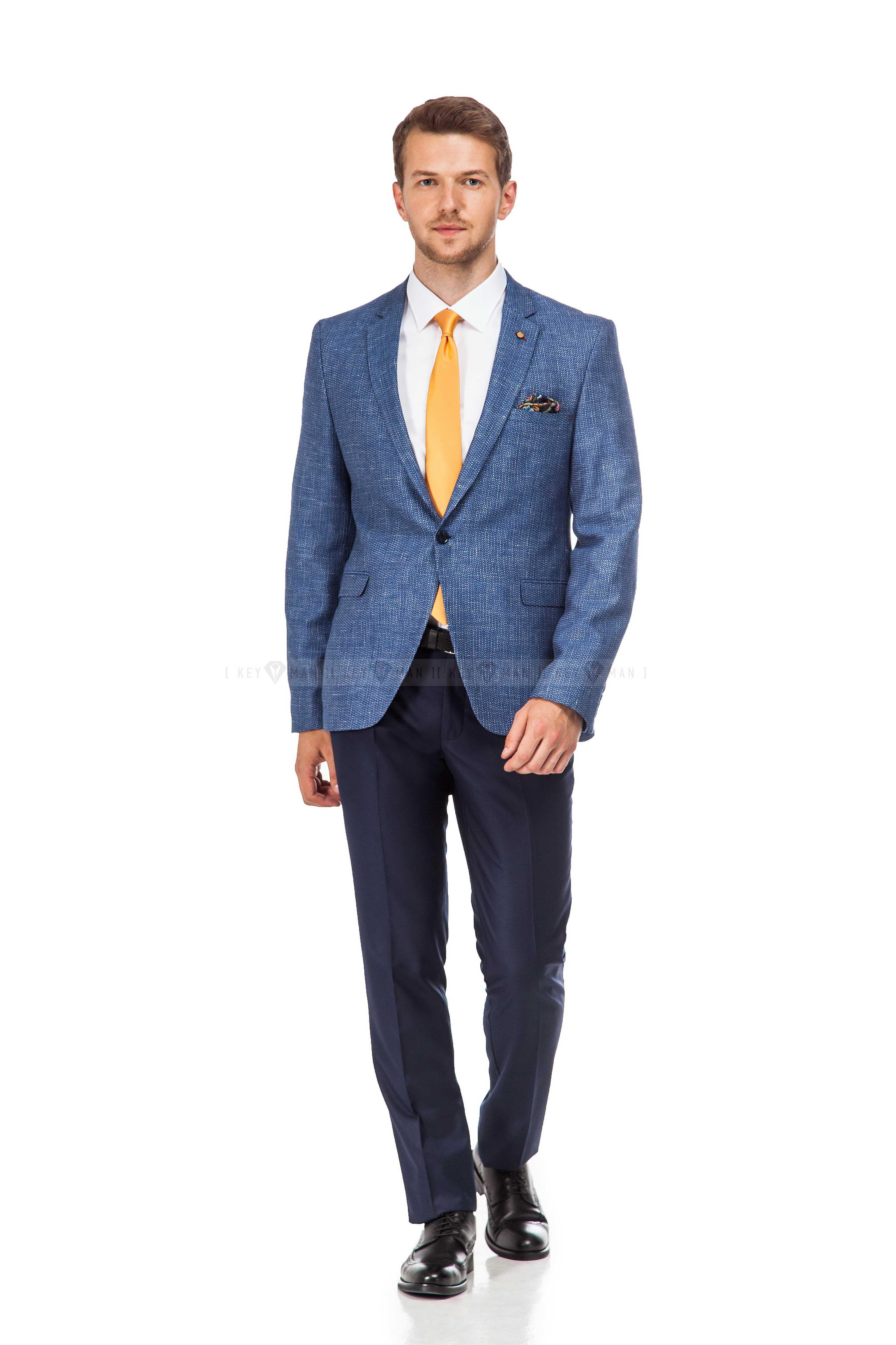 Пиджак мужской синий фактура под лён