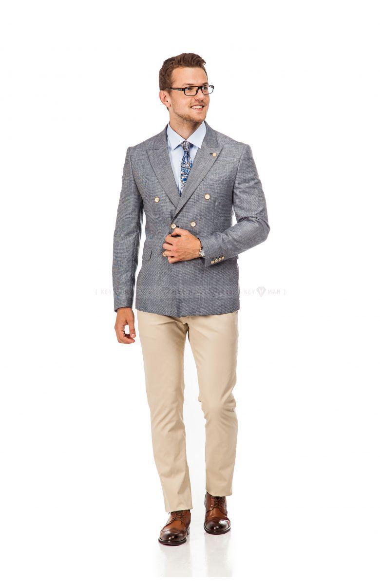 Комплект на выпускной с двубортным пиджаком (пиджак, брюки, рубашка, туфли, ремень, аксессуары)