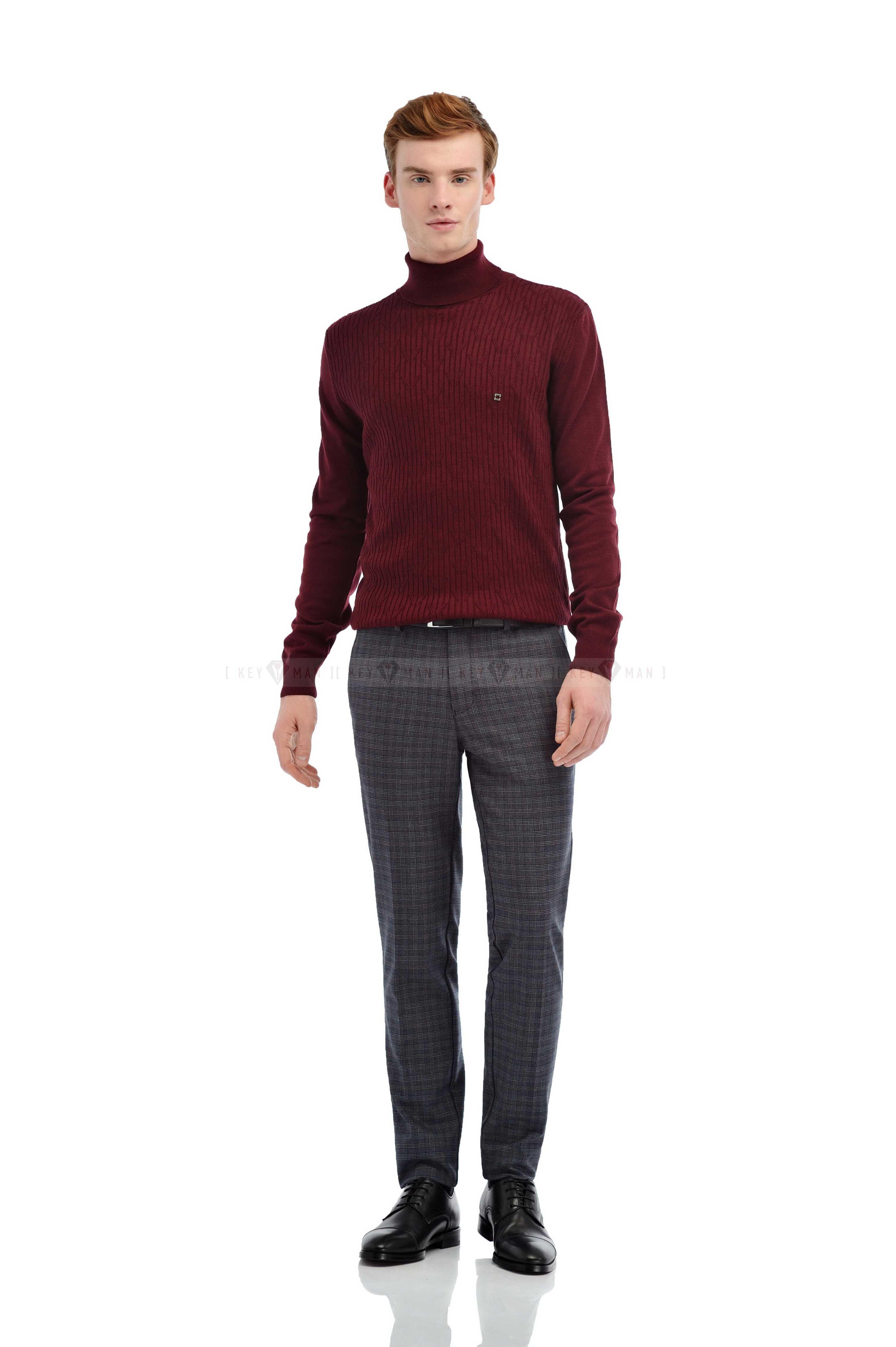 Гольф мужской бордовый плетение косичкой