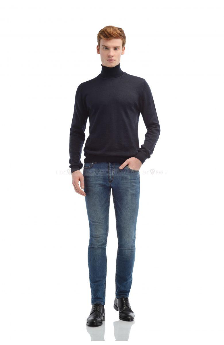 Гольф мужской синий (водолазка) итальянская шерсть