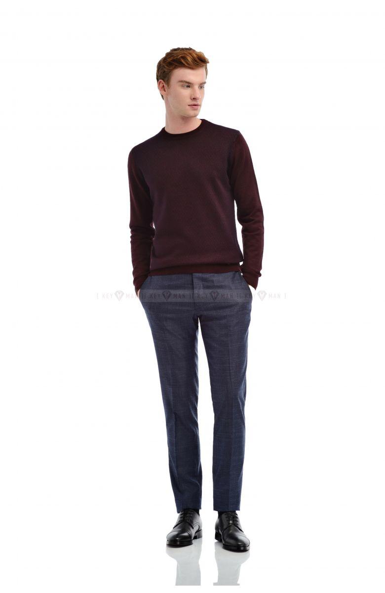 Джемпер мужской бордовый в синий рисунок итальянская шерсть