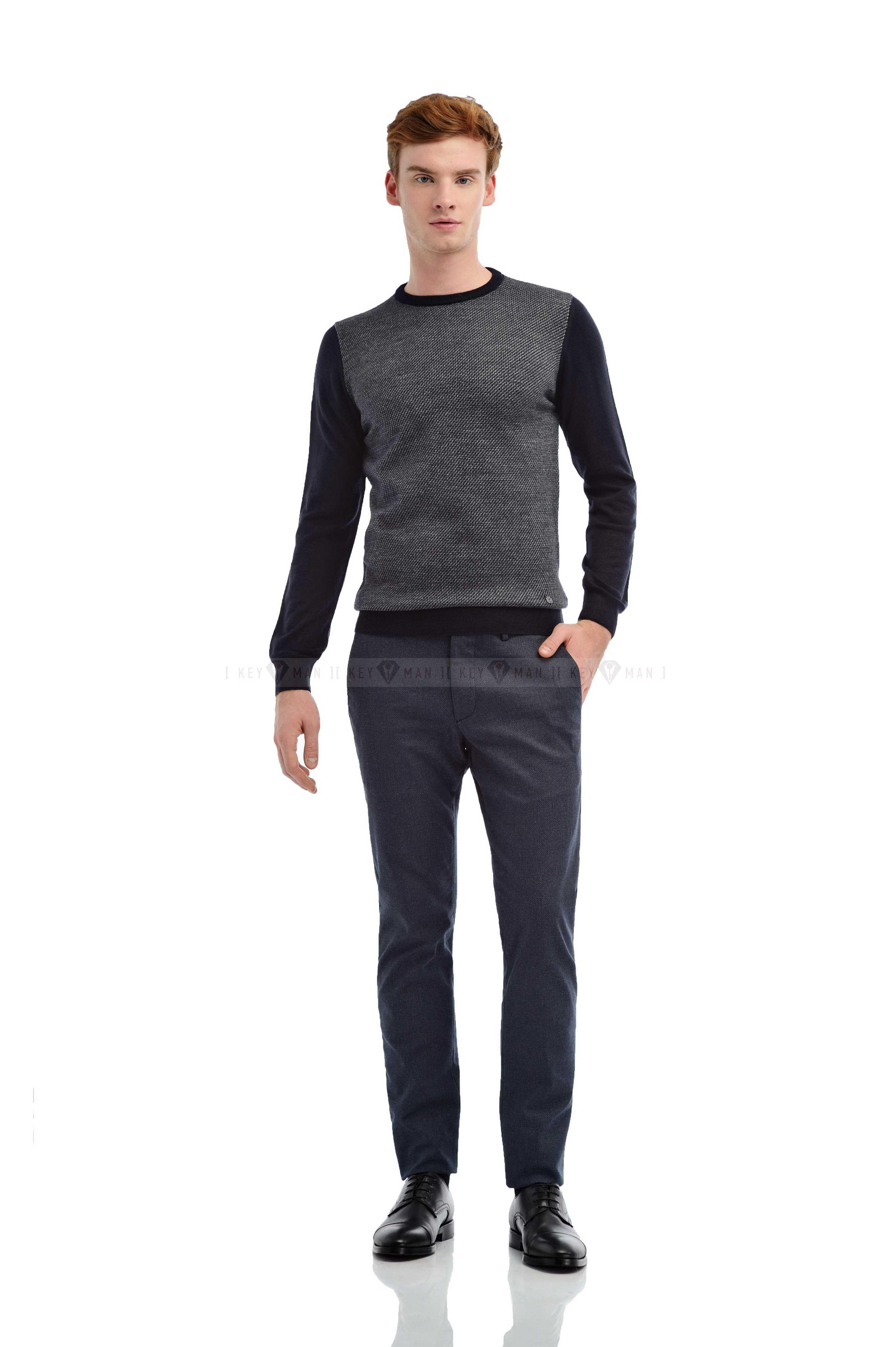 Джемпер мужской синий в серый диагональный рисунок итальянская шерсть