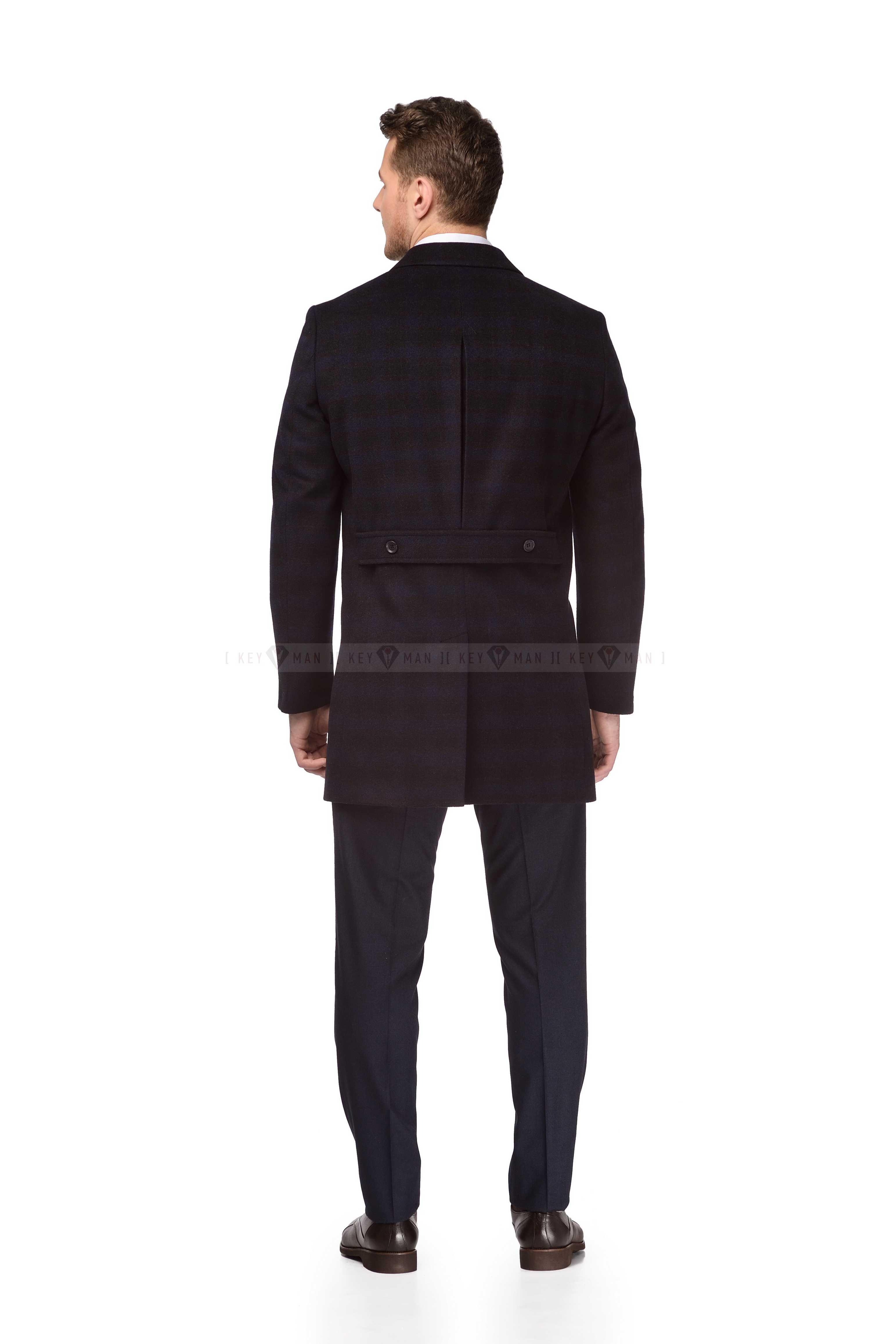 Пальто мужское сине-коричневая клетка шерстяное приталенное