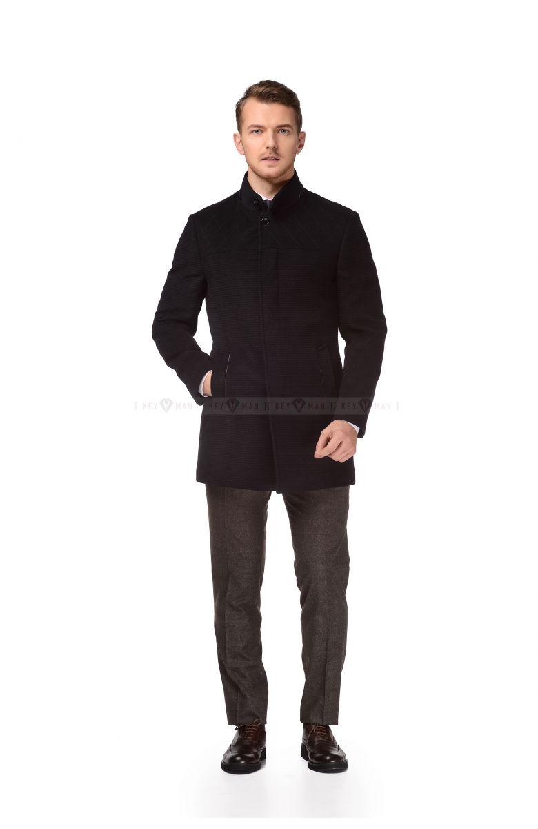 Пальто мужское синее шерстяное приталенное воротник стойка, фактурное