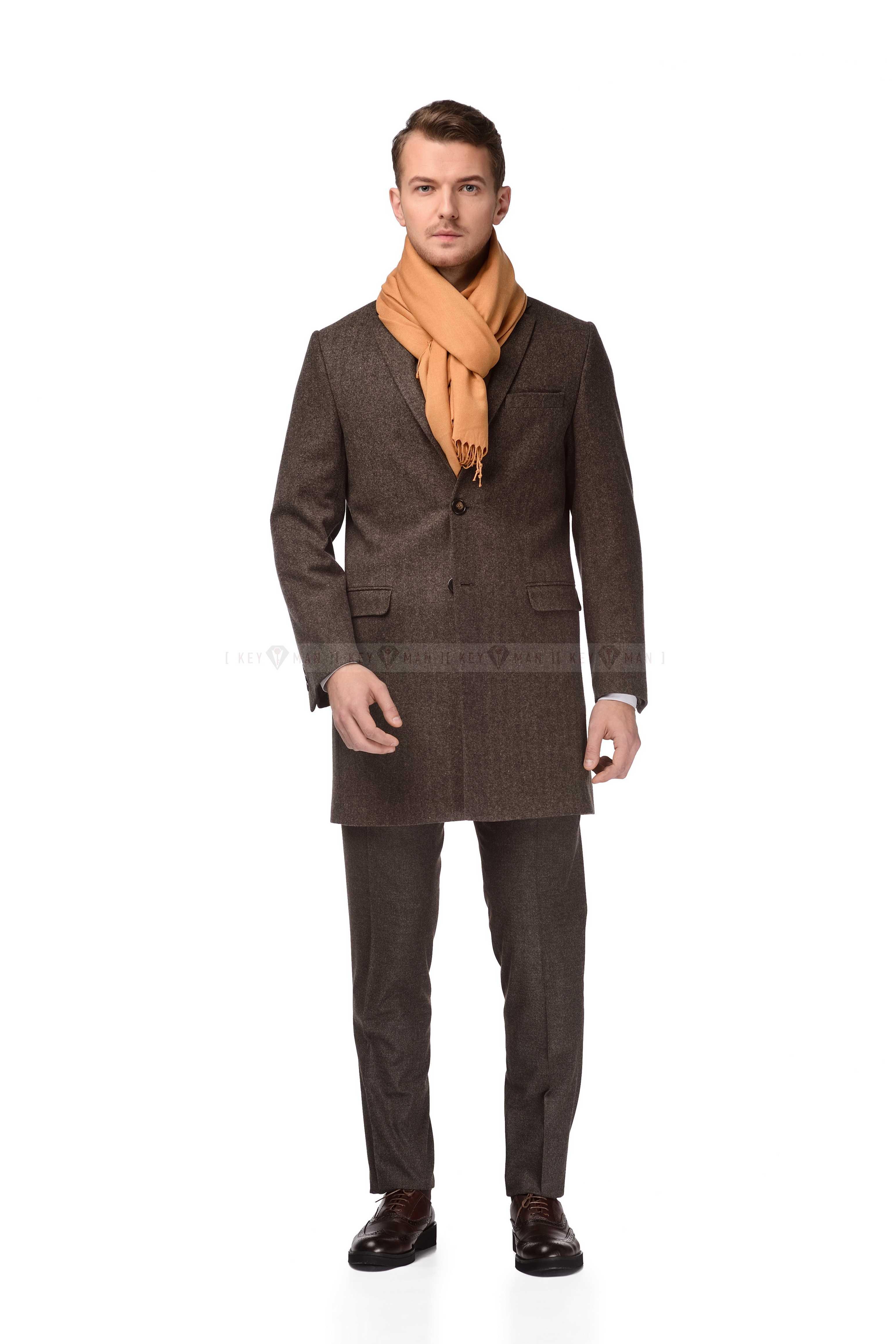 Пальто мужское визон шерстяное приталенное демисезонное
