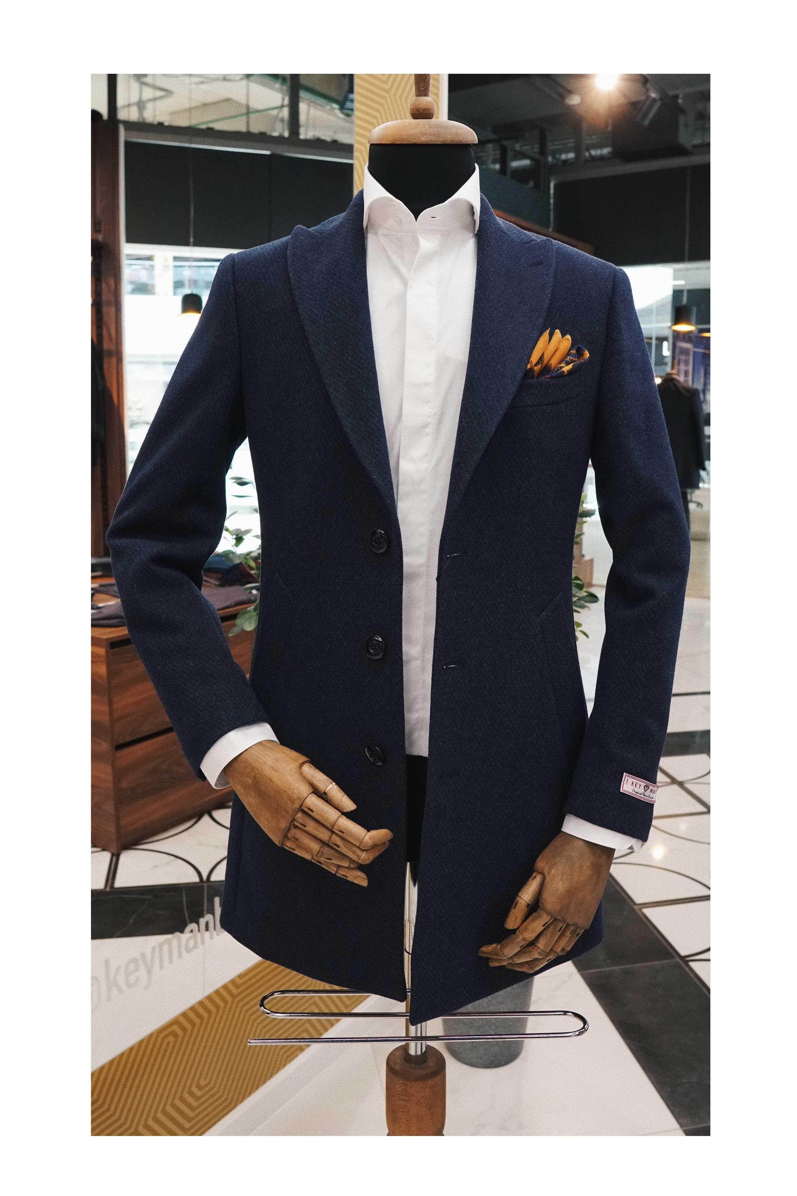 Пальто мужское светло-синее фактурное итальянский лацкан