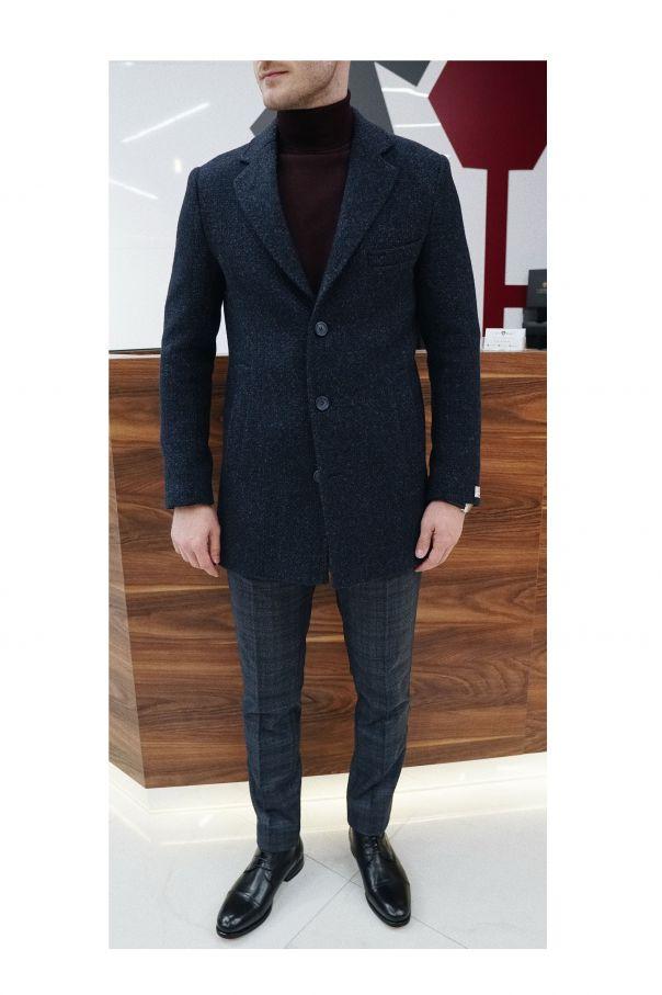 Пальто мужское темно-синее, с влетенной черной нитью, меланж, демисезонное, английский лацкан