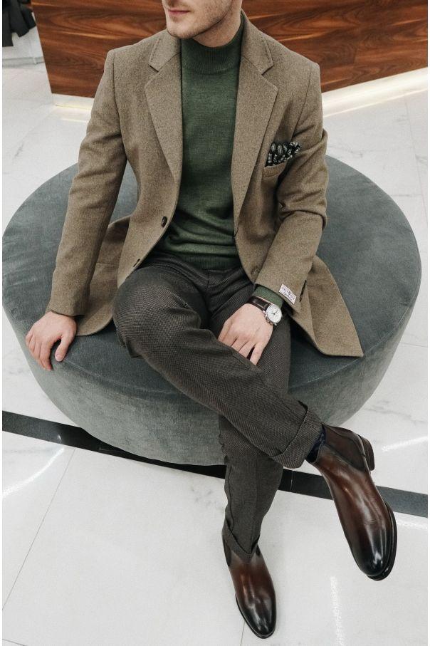 Пальто мужское темно-бежевое, демисезонное, английский лацкан