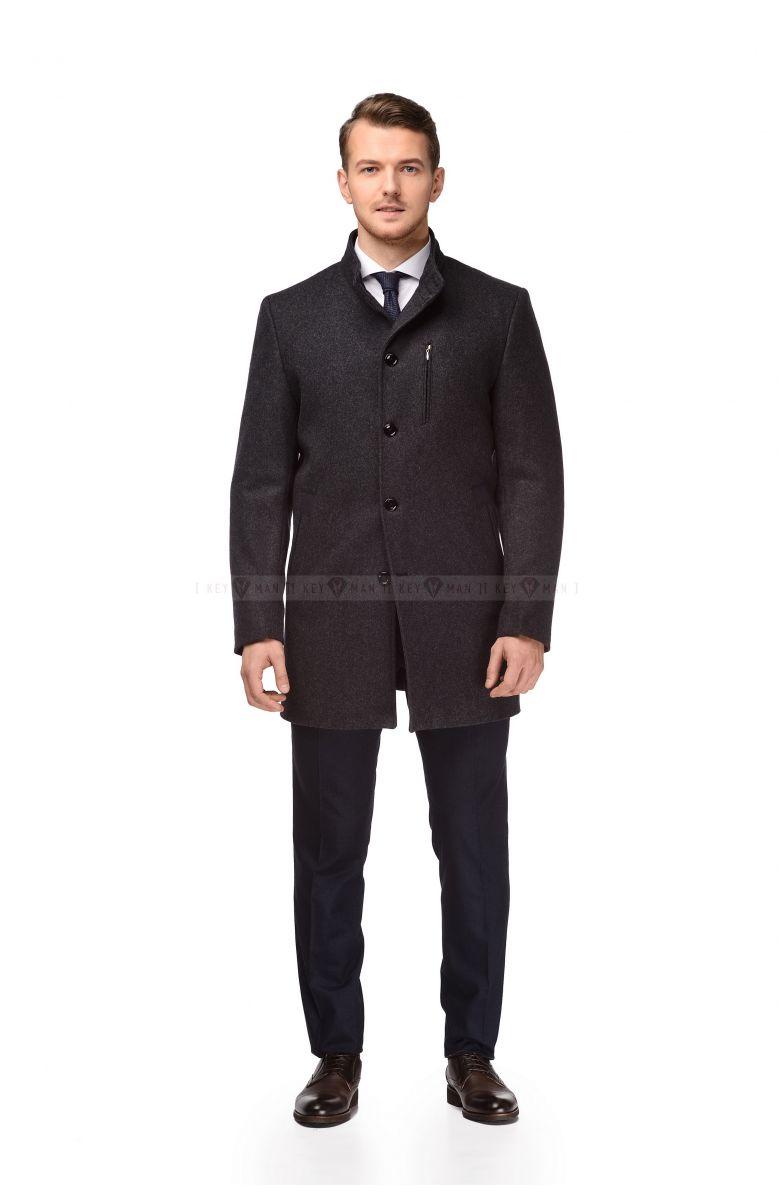 Пальто мужское серое шерстяное с синими вставками утепленное мехом