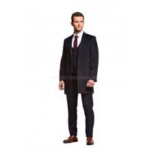 Пальто мужское синее шерстяное приталенное демисезонное