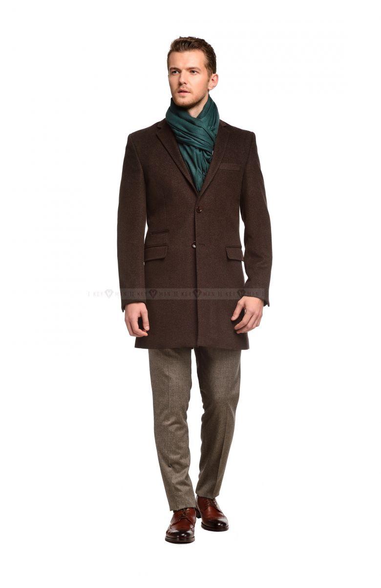 Пальто мужское коричневое приталенное демисезонное