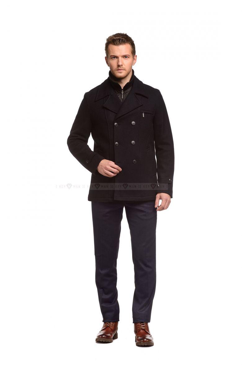 Пальто мужское темно-синее шерстяное утепленное мехом
