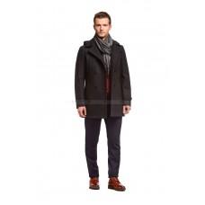 Пальто мужское серое шерстяное с капюшоном утепленное синтепоном