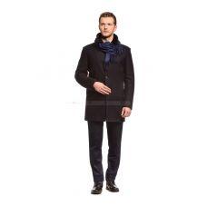 Пальто мужское синее шерстяное утепленное мехом