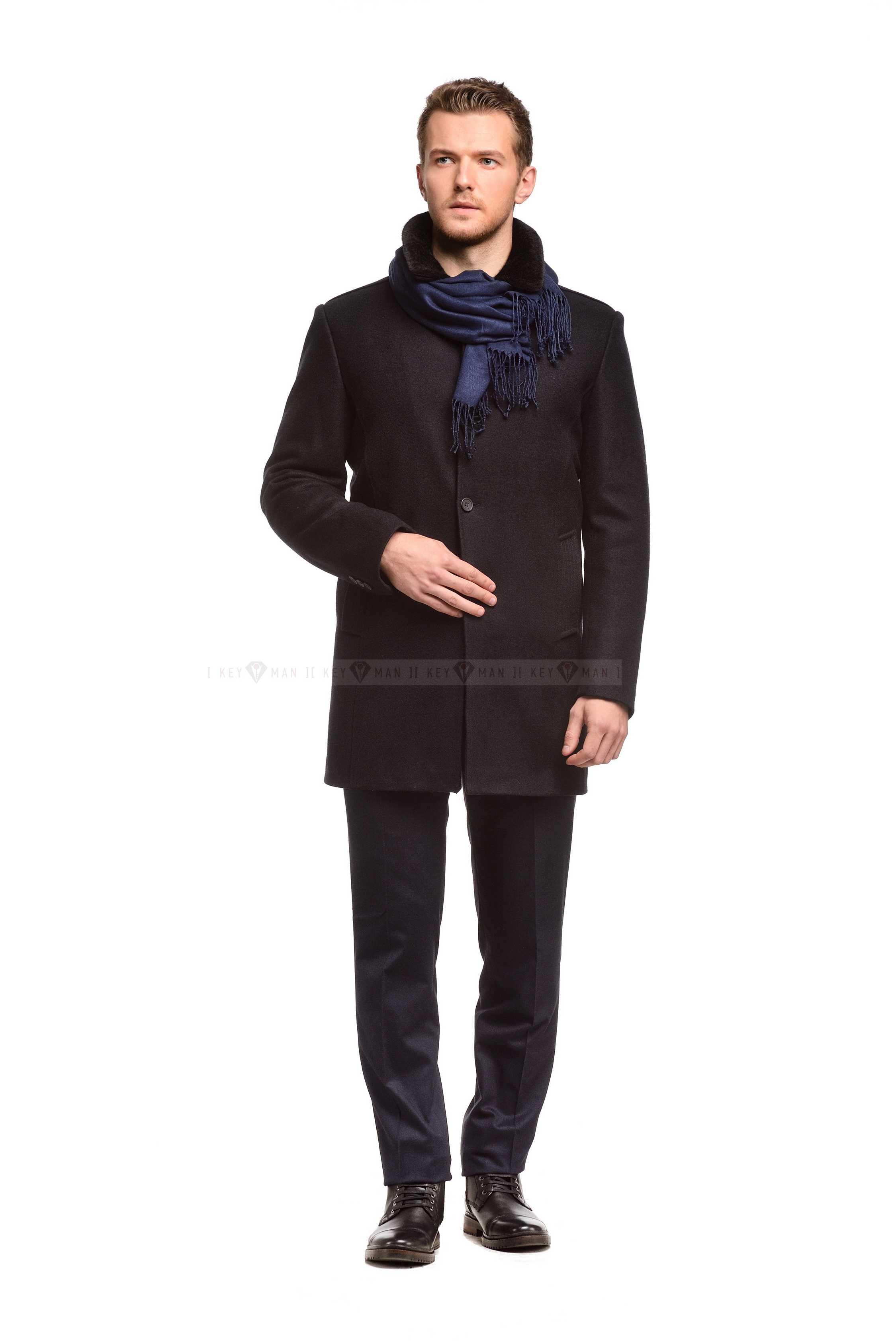 Пальто мужское синее шерстяное утепленное мехом, рубашечный воротник отстёгивается