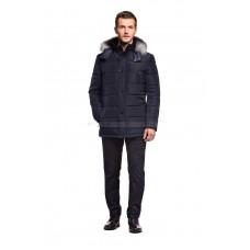 Куртка мужская темно-синяя с капюшоном и натуральным мехом