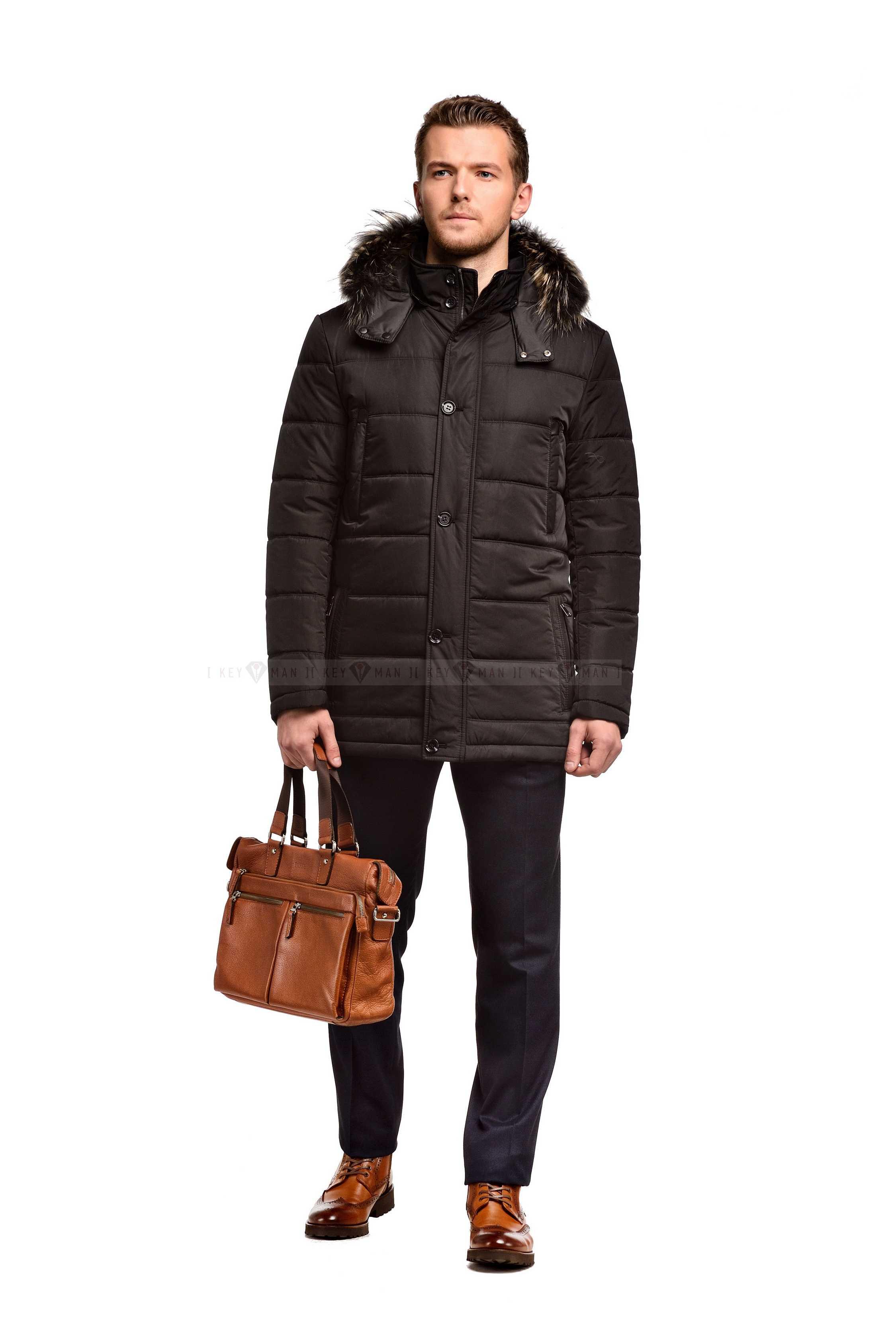 Куртка мужская черная с капюшоном и натуральным мехом