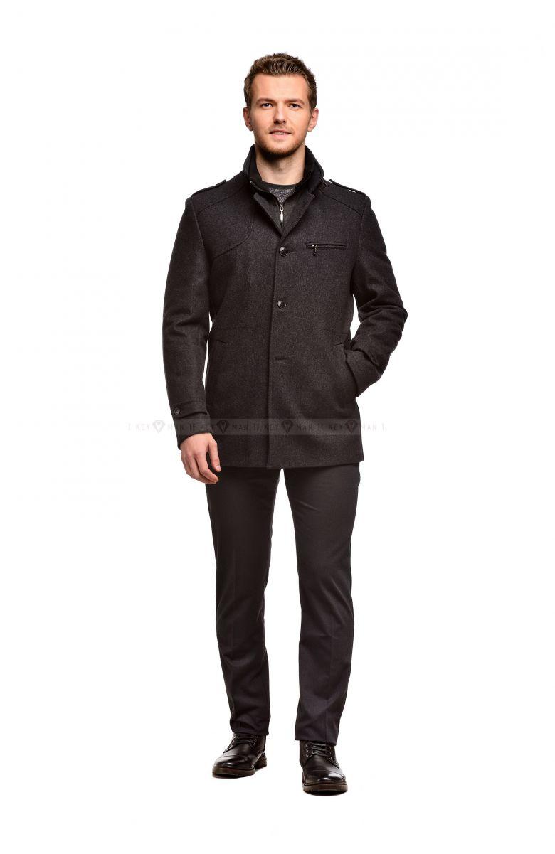 Пальто мужское серое шерстяное утепленное синтепоном