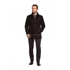 Пальто мужское черное шерстяное утепленное синтепоном