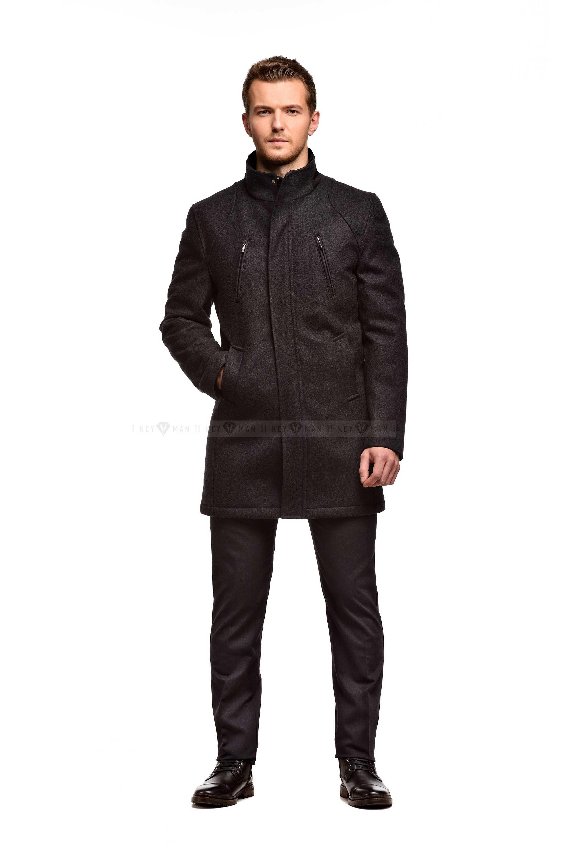 Пальто мужское серое шерстяное утепленное мехом