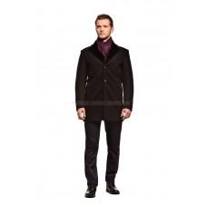 Пальто мужское черное шерстяное утепленное мехом